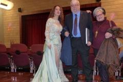 Estrella Cuello tras actuación en el Palacio de la Audiencia de Soria con el actor Camilo García, maestro del doblaje y voz de Gerard Depardieu, etc.