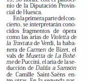 Diario Alto Aragón 5 dic Almudevar Soprano Estrella Cuello