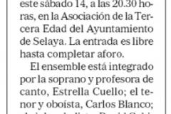 Reseña Recital Selaya Diario Alerta