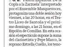 Reseña diario montañes Pasion Española Santoña y Comillas