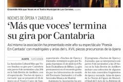 Soprano Estrella Cuello Reseña Diario Alerta de Cantabria 9 de Noviembre